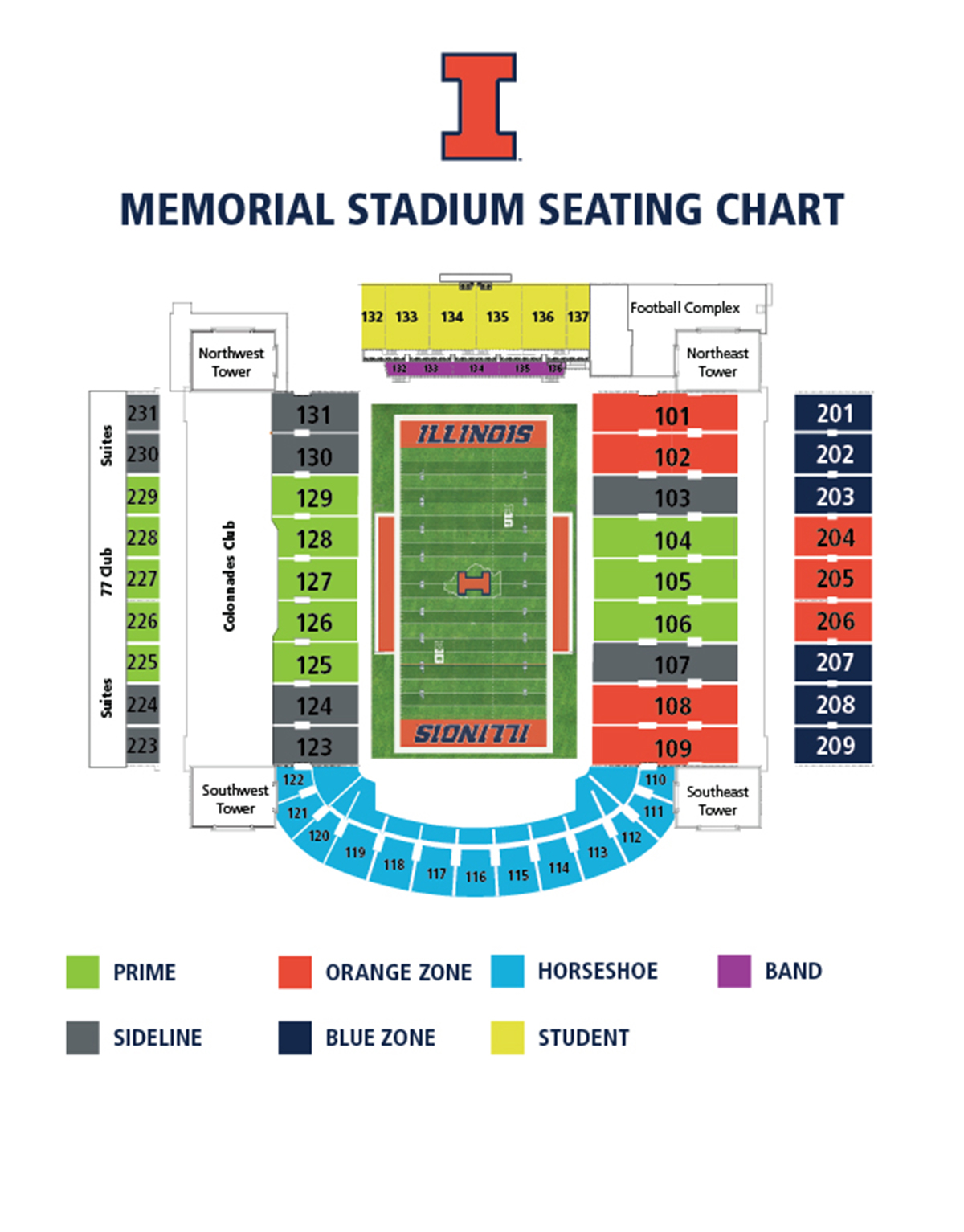 Illinois Football Seating Map 2017