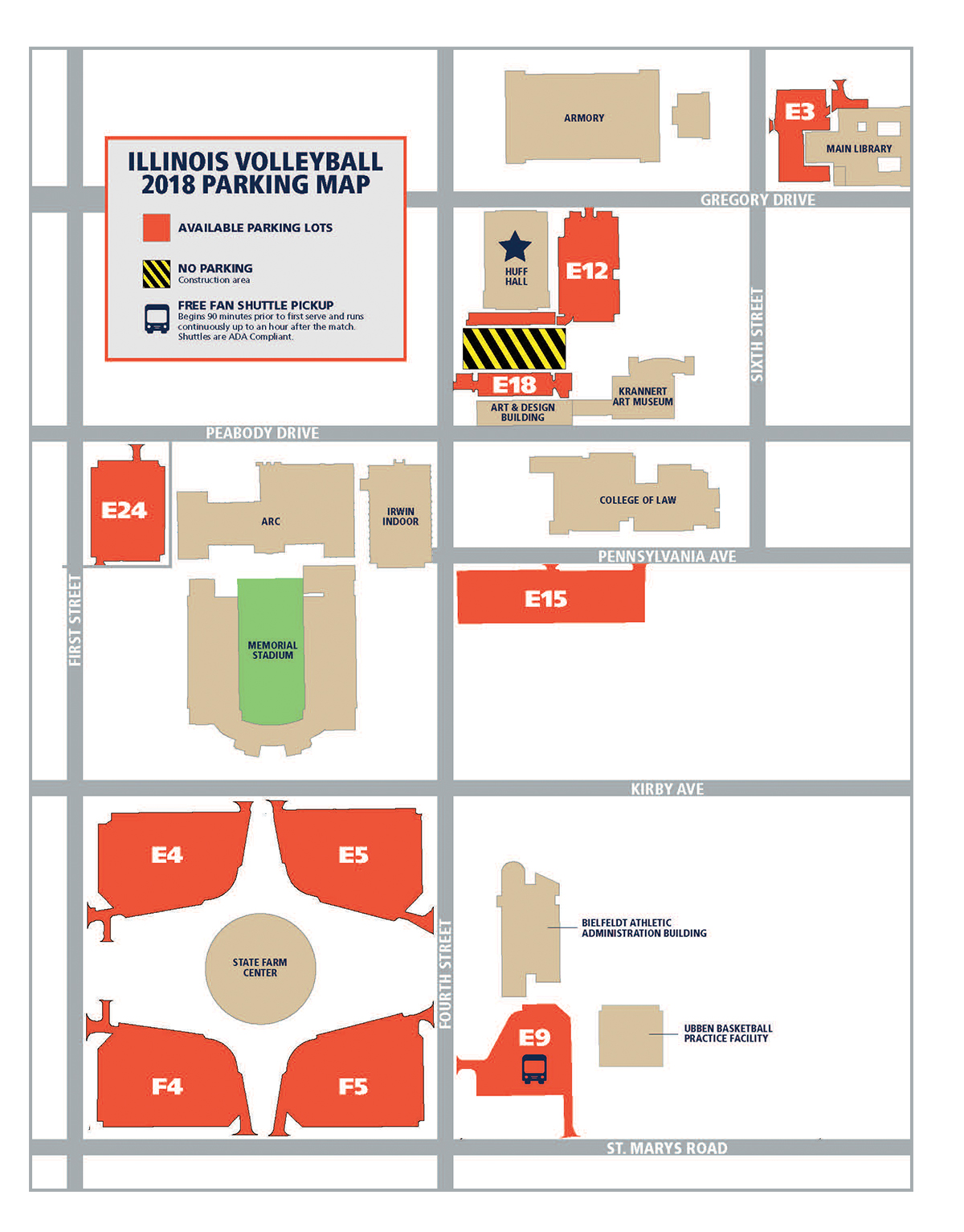 Illinois Volleyball Seating Map 2017