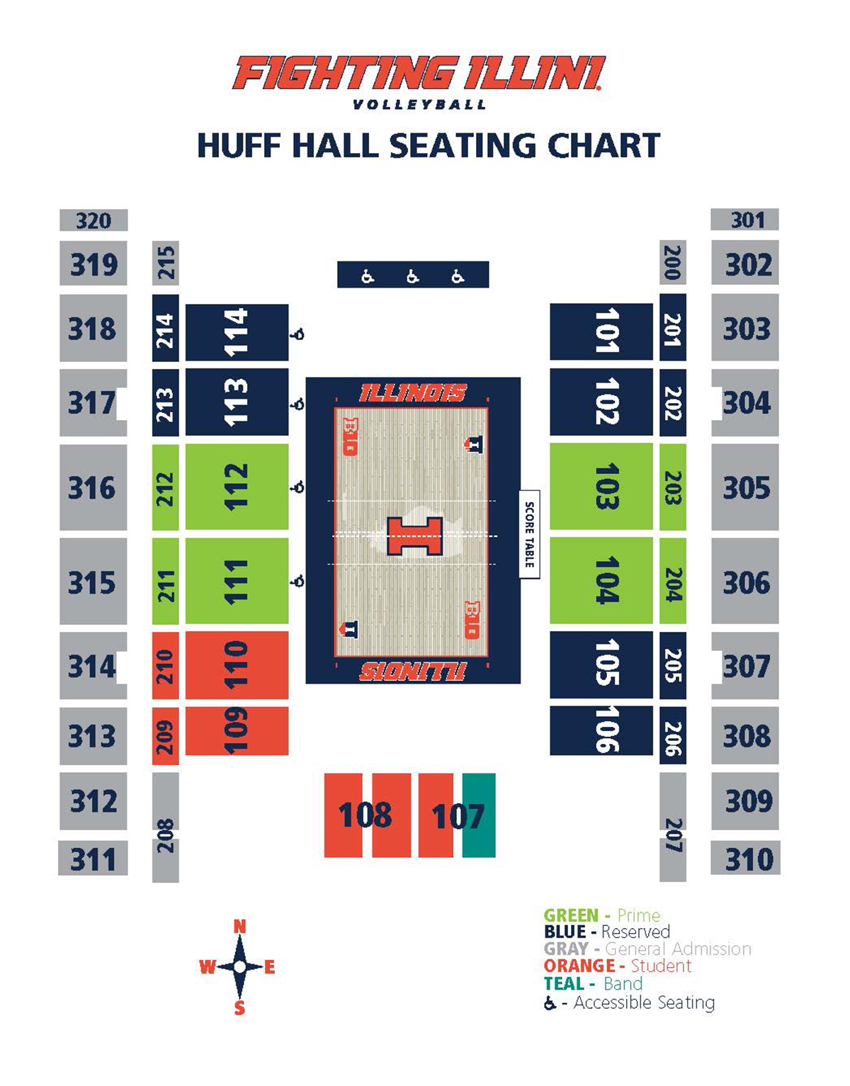 Illinois Volleyball Seating Map 2018