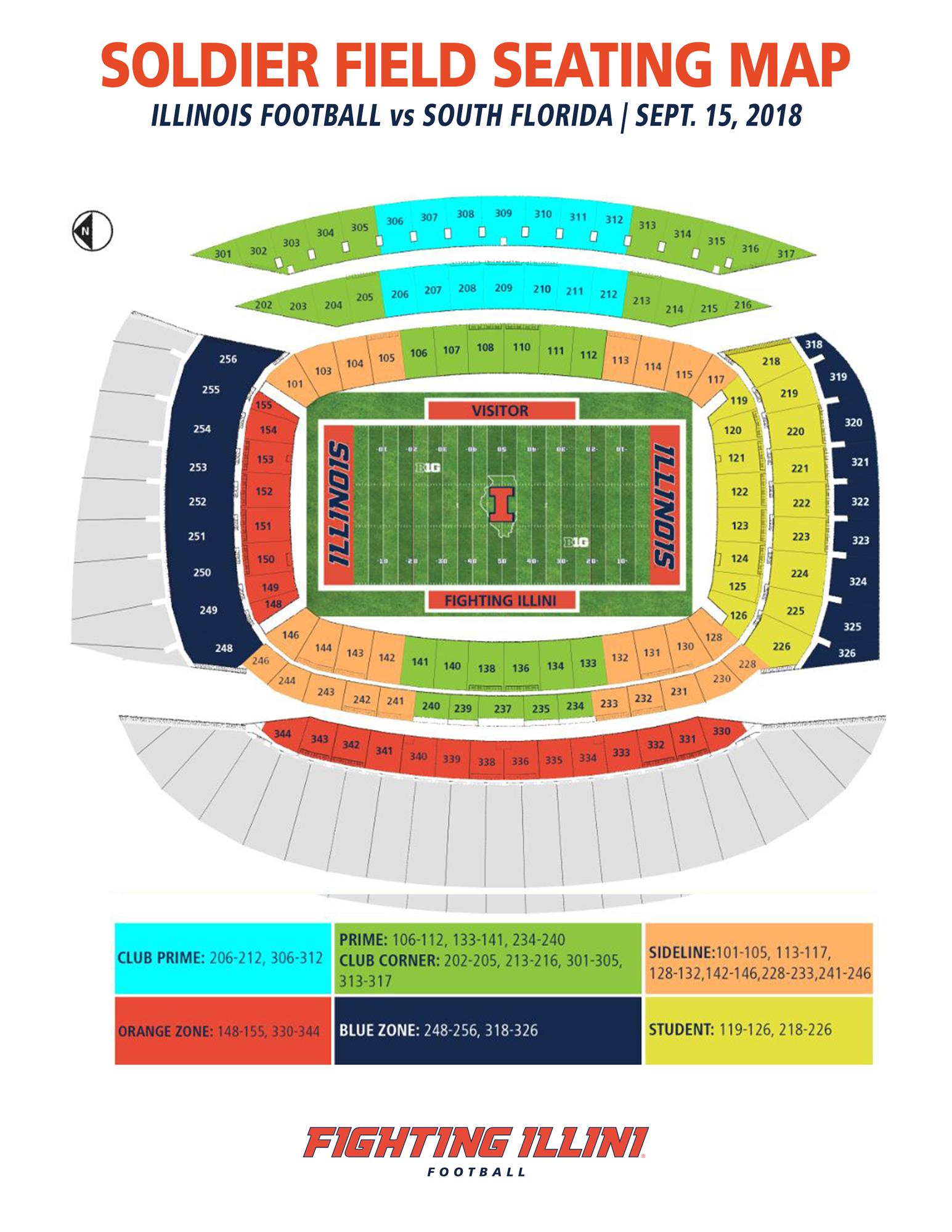 Illinois Football Soldier Field Seating Map 2018